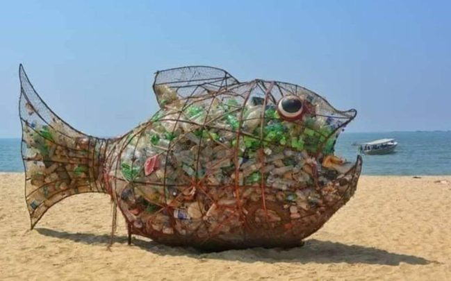 Using Art To Clean Up Plastic and Other Recyclable Trash on a Beach